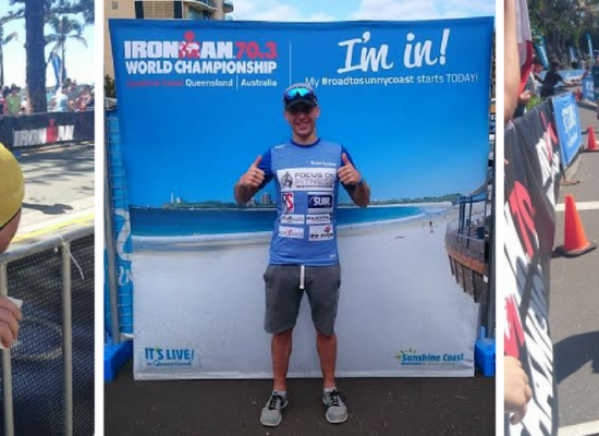 Eoin at finish Mooloolaba 2016 Ironman 70.3 World championships