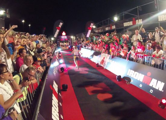 Ann crosses the finish line